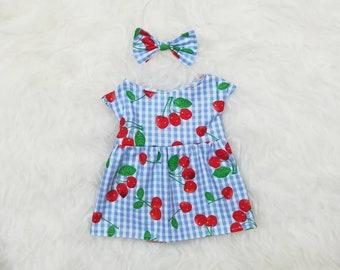 "16"" Doll Clothes ~ Blue Gingham Cherries Dress & Bow Headband"