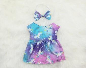 "16"" Doll Clothes ~ Pink Blue Pastel Glitter Galaxy Unicorns Dress & Bow Headband"