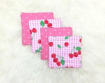 Pink Plaid Cherries & Polka Dots Reversible Coaster Set