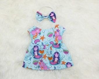 "16"" Doll Clothes ~ Blue Mermaids Starfish Seashells Dress & Bow Headband"