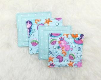 Mermaid Seashells & Blue Polka Dots Reversible Coaster Set