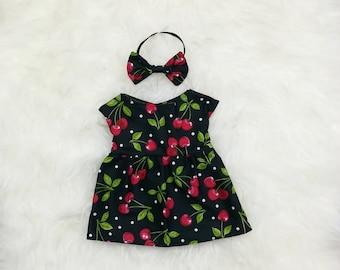 "16"" Doll Clothes ~ Black Polka Dot Cherries Dress & Bow Headband"