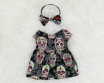 """16"""" Doll Clothes ~ Sugar Skull Silver Brocade Dress & Bow Headband ~ Day of the Dead ~ Día de los Muertos"""