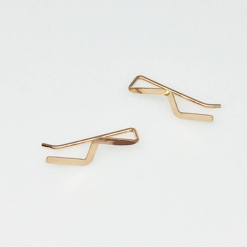 Rose Gold Ear Climber Simple Lightning Bolt Earring Zigzag Etsy