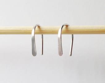 "Small Sterling Silver Open Hoop Minimalist Earrings, 1/2"" Simple Mini Arc Horseshoe Hoop, Tiny Dainty Mom Daughter Girlfriend Birthday Gift"