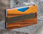 Minimalist Men's Front Pocket Wallet – Handmade from Santos Polisander Wood – Luxurious and Unique with Integrated Money Clip by Skeggox