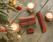 Grooming Set | Mens Wallet | Small beard Comb | Wooden Comb | Grooming Kit | Christmas Gift  | Boyfriend Gift | Mens gift | Stocking Stuffer