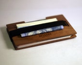 Hipster Front Pocket Wallet – Handmade from American walnut Wood – Luxurious and Unique with Integrated Money Clip by Skeggox