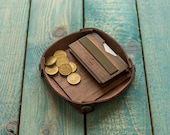Wooden wallet and leather tray SET