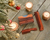 Grooming Set | Men's Wallet | Beard Comb | Wooden Comb | Grooming Kit | Gift for Him | Christmas Gift | Boyfriend Gift | Mens gift | For dad