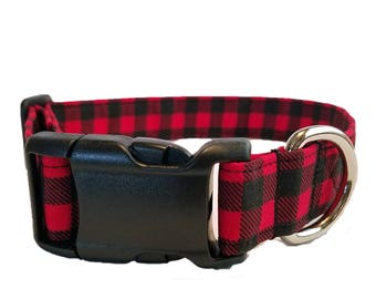 Red Buffalo Check Dog Collar Puppy black gingham Hunter winter Fabric Checker plaid Christmas checkerboard Adjustable valentine day