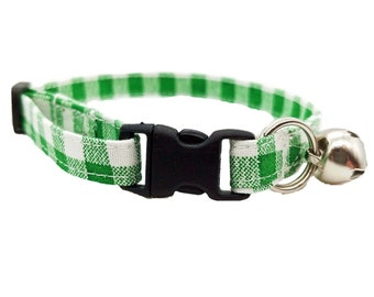 St Patricks day shamrock Checker plaid buffalo white Adjustable Green Gingham Dog Collar Puppy Christmas Check Fabric Handmade by Britches4Stitches