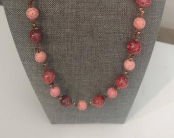 "22"" Unique Rose  and Pink Agate Necklace copper components"