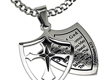 "Armor Cross Necklace . Stainless Steel - ""Armor Of God"""