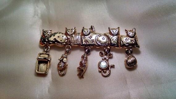 Funky '80s Vintage Cat Brooch/Pin, With Feline Par