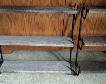 Barn Board 3 Tier Shelf with Horseshoes
