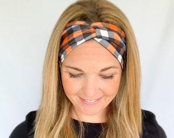 Plaid Headband, Wide Headband, Womens Headband, Double Brushed Poly Spandex, Orange and Black