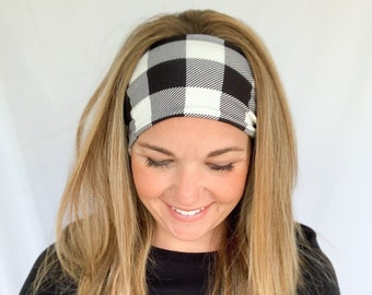 Buffalo Plaid Headband, Twisted Turban, Wide Headwrap for Women, Double Brushed Poly Spandex