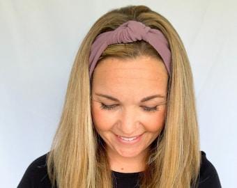 Purple Knot Headband, Ribbed Knit Fabric, Boho Headband, Yoga Headband, Flora Bloom Market