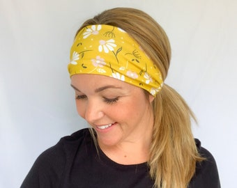 Yellow Floral Twist Headband, Turban Headband, Yoga Headband, Nurse Headband, Flora Bloom Market