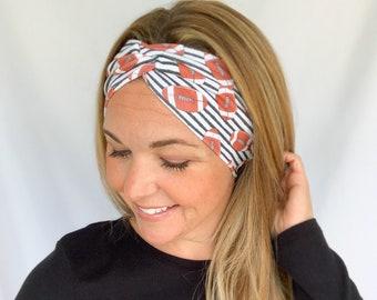 Football Headband, Wide Headband, Twisted Turban for Women, Football Mom