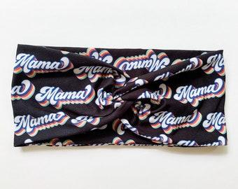 Mama Twist Headband, Retro Black Head Wrap, Womens Wide Headband, Gift for New Mom