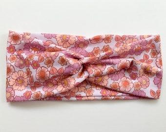 Pink Floral Headband for Women, Soft Womens Turban, Wide Headband, Nurse Headband, Yoga Headband, Flora Bloom Market