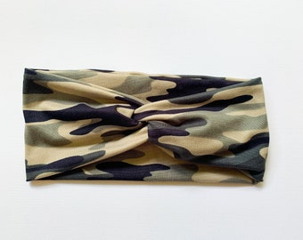 Green Moss Camo Knit Headband, Wide Headwrap for Women, Double Brushed Poly Spandex