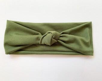 Olive Green Knot Headband, Top Knot Headband, Boho Headband, Yoga Headband, Flora Bloom Market