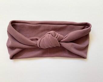 Purple Ribbed Knit Headband, Top Knot Headband, Boho Headband, Yoga Headband, Flora Bloom Market