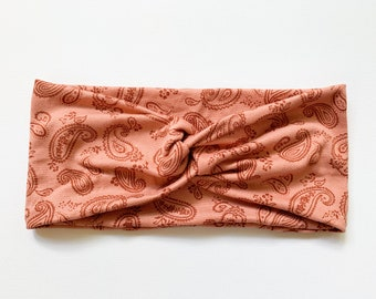 Burnt Orange Paisley Print Knit Headband, Fall Headwrap for Women, Double Brushed Poly Spandex