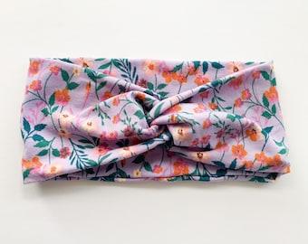 Floral Headband, Floral Hair Wrap, Womens Headband, Wide Headband, Wildflowers
