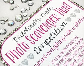 Pink & Silver Bachelorette Party Scavenger Hunt Game | Bar Crawl | Girls Night Out | Truth or Dare | PRINTABLE/DIGITAL/DIY