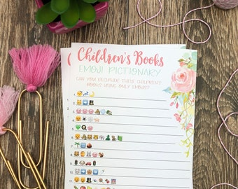 Emoji Pictionary Baby Shower Game | Children's Books | Girl Baby Shower | Baby Shower Bundle | Floral | INSTANT DOWNLOAD | Printable | #100
