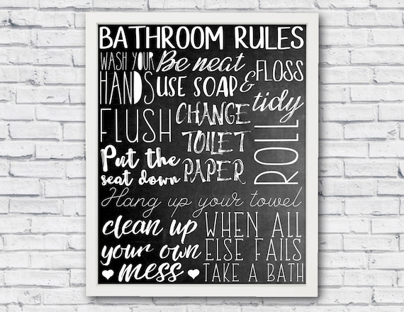 Bad Regeln Badezimmer-Wand-Kunst Bad Poster | Etsy