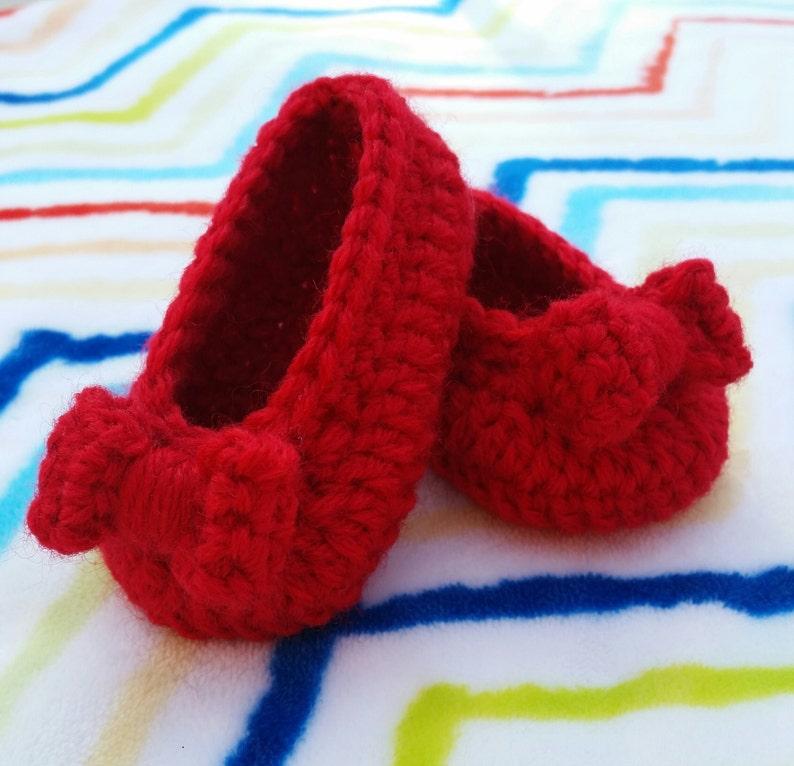 4174b370ed79 Baby girl crochet shoes ballerina slippers handmade ruby