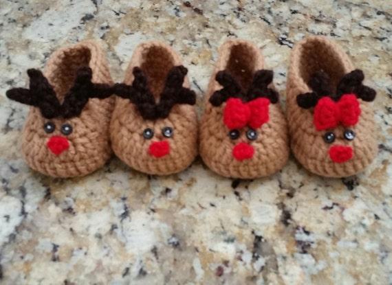 Gehaakte Rendier Slippers Baby Kerst Sloffen Rendieren Etsy