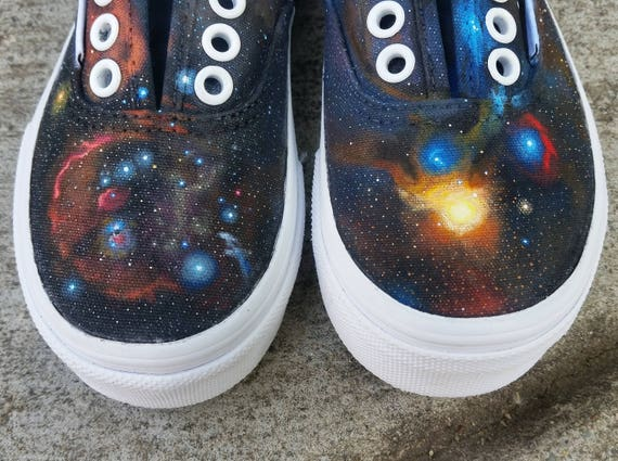 Kids Galaxy Vans Authentic | made to order | handpainted astronomical original design custom galaxy skate shoes, children's sizes
