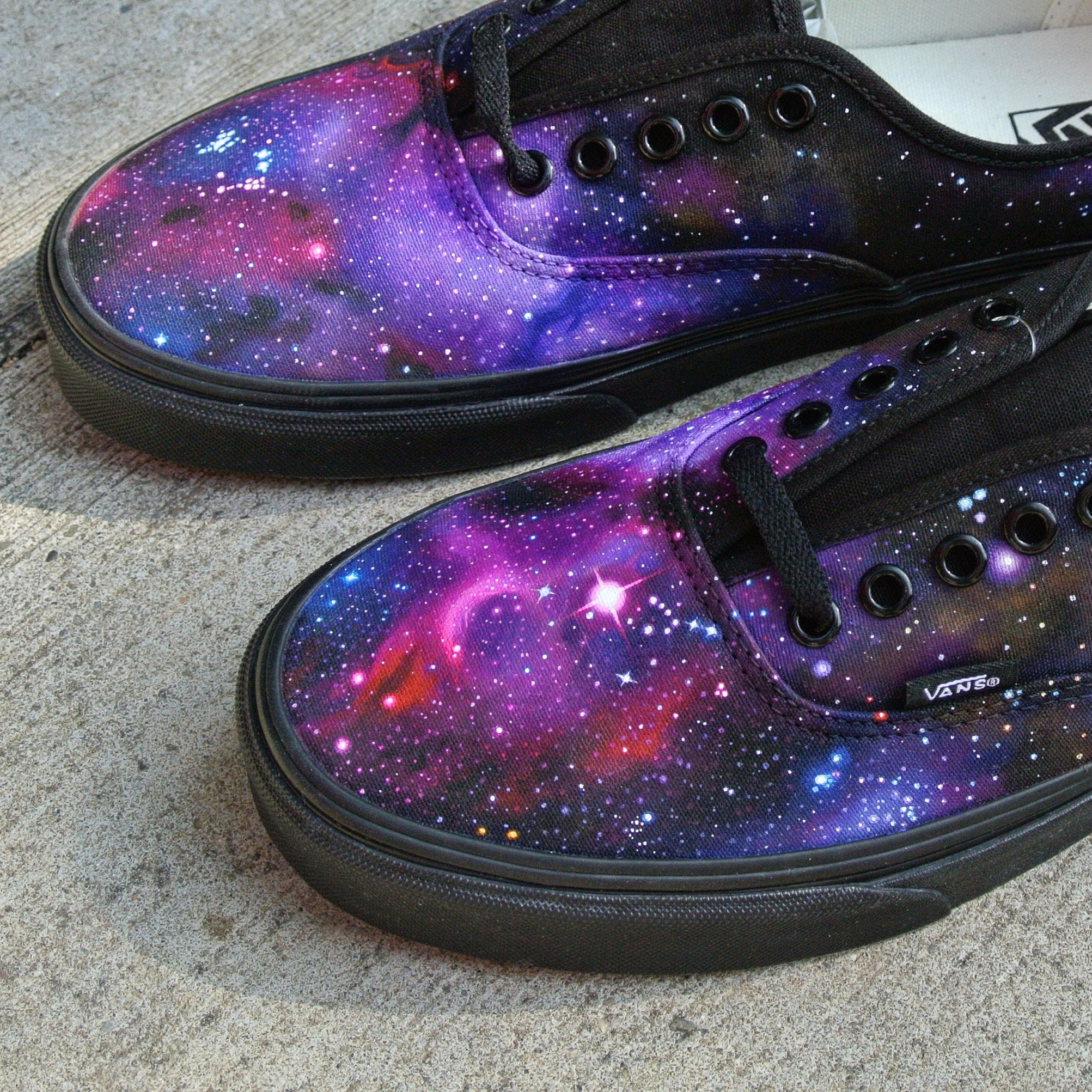Custom Vans Authentic Galaxy Shoes | made to order | galactic nebulae custom painted design on canvas Vans Authentic sneakers