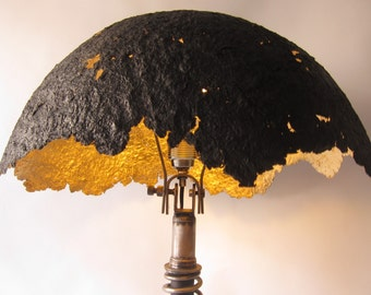 FRANKENSTEIN EGGSHELL desk lamp, paper mache.concrete base.old motorbike.recycled