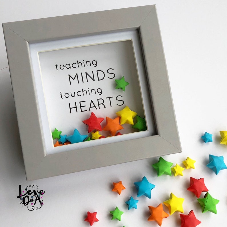 TEACHERs gift  Origami lucky star  Box frame  Moving stars image 0