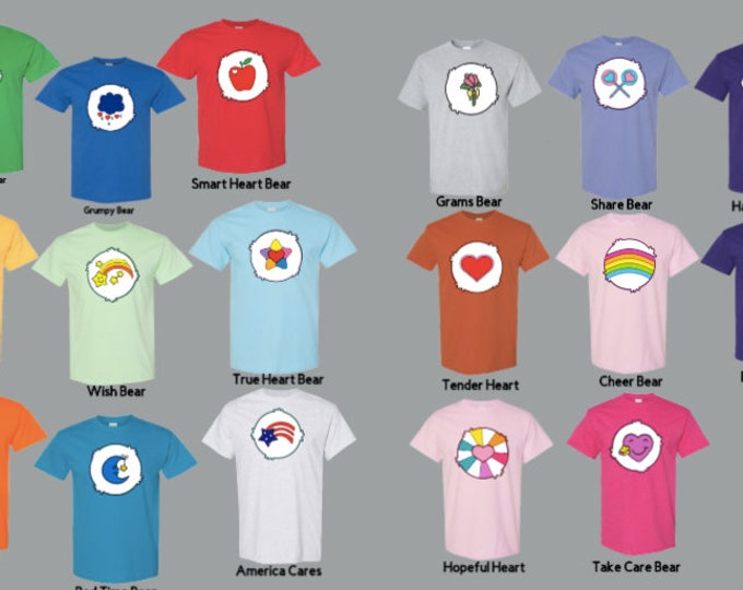 Care Bear chest cartoon Costume T-Shirts, Halloween Group Costume shirts. Unisex sizes for men and women. Costume idea for friends