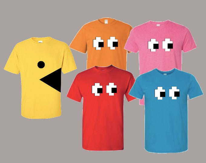 PacMan costume, pacman group costume, easy Halloween costumes, easy group costumes, pacman and ghost shirts, group Halloween costumes