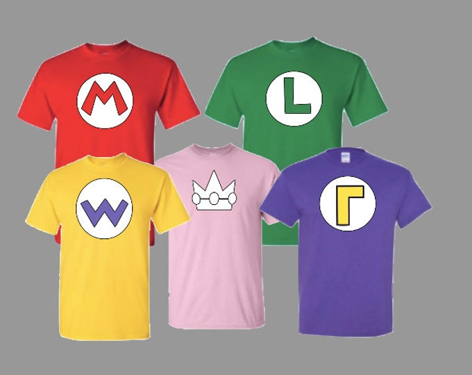 Male / Female / Childs Sizes MARIO Bros T-Shirt Mario / Luigi / Wario / Waluigi / Princess Peach retro gaming super mario brothers