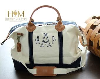 Sale! Monogrammed Weekender Navy Bag -SALE- Monogram Weekender - Duffle Bag - Monogrammed Overnight Bag - Carry ON Bag - Bridal Gift