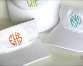eee34a6438c White Monogrammed Visor - Personalized Visor- Monogramed Tennis Hat- Golf  Visor