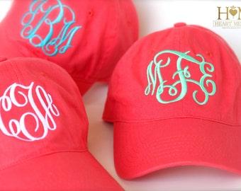 Coral Monogrammed Hat - Personalized Coral Cap - Bridesmaid Gift - Women Baseball Hat - Monogram Shown Master Circle and Interlock Initials