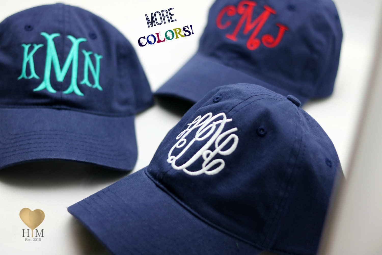 3723abf5e9866 Navy Monogrammed Hat Monogrammed Baseball Cap Personalized