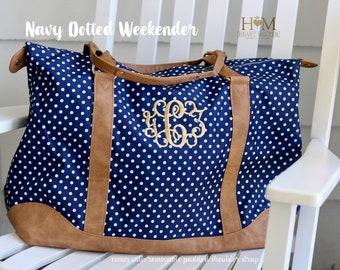 Monogrammed Navy Weekender Bag - Personalized Dotted Duffle Bag - Charlie Dot - Overnight Bag - Carry ON Bag - Bridesmaids Gift - Travel Bag