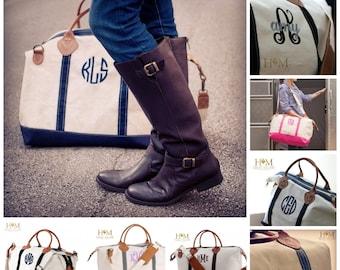Sale! Navy Monogrammed Weekender Bag - Monogrammed Duffle Bag - Monogrammed Overnight Bag - Carry ON Bag - Bridal Gift